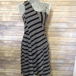 Anthropologie Black and White Striped Dress Size M